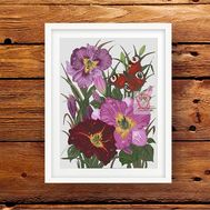 Lilies & Butterfly Floral cross stitch pattern