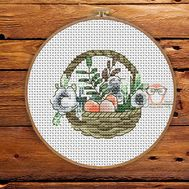 Flower Cross stitch pattern Spring Basket}