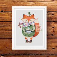 Fox & Coffee cross stitch pattern pdf