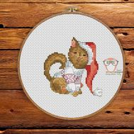 Funny Cross stitch pattern Christmas Cat With Gift}