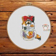 Funny Cross stitch pattern Cyclops Cat & Gold Fish}