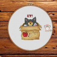 Funny Cross stitch pattern Cyclops Cat In the Box}