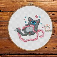 Funny Cross stitch pattern Cyclops Cat & Sausages}