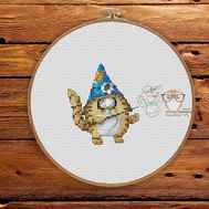 Funny Cross stitch pattern Cyclops Cat The Wizard}