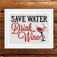 Funny Wine Saying cross stitch pattern