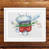 Funny cross Stitch pattern Ladybug in Winter
