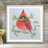 Xmas cross Stitch pattern Red Cardinal