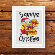 Funny cross stitch pattern Banana Christmas