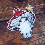 Funny cross stitch pattern Halloween Mushroom}