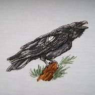 Gothic cross stitch pattern Black Raven}