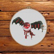 Halloween cross stitch pattern Flying Eye}
