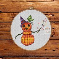 Halloween cross stitch pattern Pumkin Snowman}