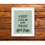 Harry Potter cross stitch pattern Keep Calm and Read