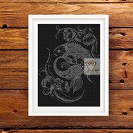 Horoscope Cross stitch pattern Zodiac Pisces}