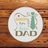 I love Dad father cross stitch pattern