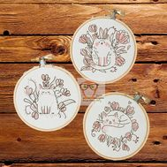 Round round cross stitch pattern Nature Plants Set of 3}