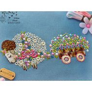 Lamb Cross Stitch pattern Floral Cart