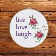 Free Cross Stitch Pattern ''Live Love Laugh''