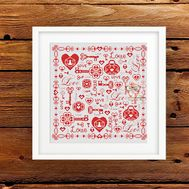 Love Sampler Cross stitch pattern}