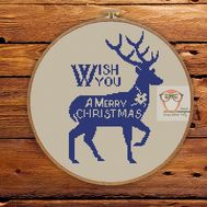 Merry Christmas cross stitch pattern with reindeer