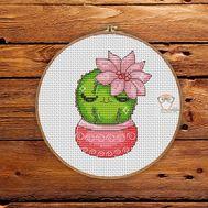 Mini Cross stitch pattern Cactus 1}