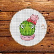 Mini Cross stitch pattern Cactus 5 pdf pattern}