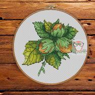 Nature Cross stitch pattern Hazelnuts}