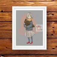 Nursery Cross stitch pattern Girl & Chicken}