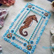 {en:Ornament Cross Stitch Sea Horse;}