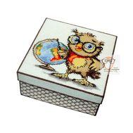 Owl & Geo plastic canvas tissue box}