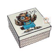 Owl & Math plastic canvas tissue box}