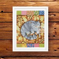 Patchwork Cross stitch pattern Autumn Cats