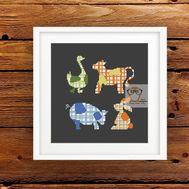 Patchwork Animals Free cross stitch pattern