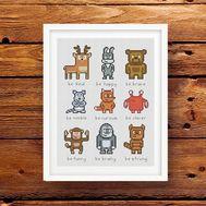 Pixel Animals cross stitch embroidery pattern