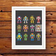 Pixel Transformers & Robots cross stitch pattern pdf