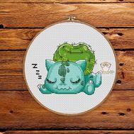 Pokemon Cross stitch pattern Bulbasaur & Apple}