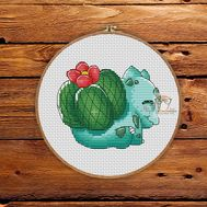 Pokemon Cross stitch pattern Bulbasaur Green}