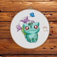 Pokemon Cross stitch pattern Bulbasaur Lilac}