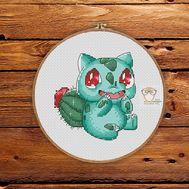 Pokemon Cross stitch pattern Bulbasaur Red}