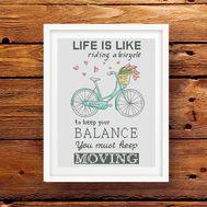 Quote cross stitch pattern Life is Bike
