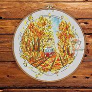 Round Cross stitch pattern Autumn tram}