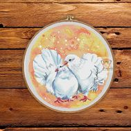 Round Cross stitch pattern Doves Love}