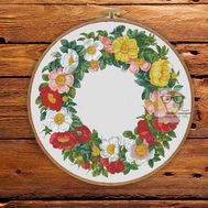Round Cross stitch pattern Spring Flower Wreath}