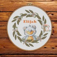 Round Cross stitch pattern Teddy Bear Baby Sampler