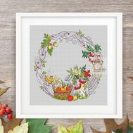 Autumn Wreath Round cross stitch pattern
