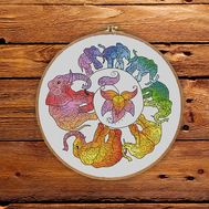 Round cross stitch pattern Rainbow Elephants}