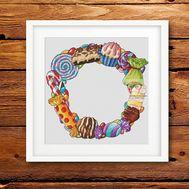 Sweeties Wreath Round cross stitch pattern