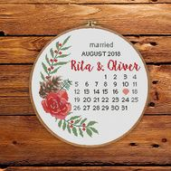Round cross stitch pattern Wedding Calendar