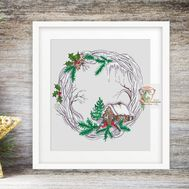 Winter Wreath Round cross stitch pattern