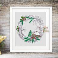 Winter Wreath Round cross stitch pattern